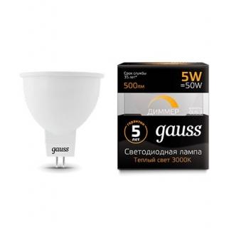 Диммируемая лампа Gauss LED MR16 GU5.3-dim